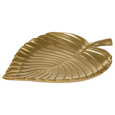 KNASTRIGT Decoration, leaf, gold-colour, 22x16 cm
