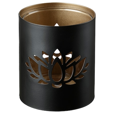 KNASTRIGT Tealight holder, black, 9 cm