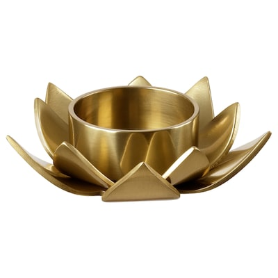 KNASTRIGT Tealight holder, gold-colour/Lotus, 3 cm