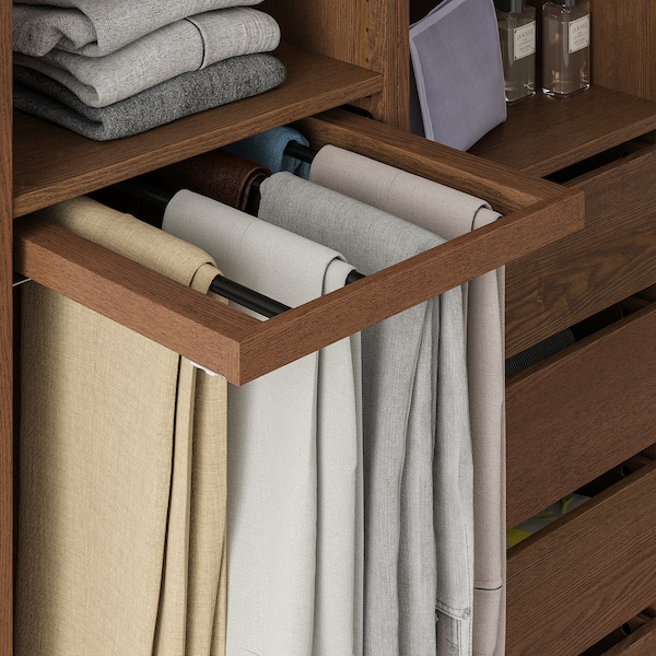 KOMPLEMENT Pull-out trouser hanger, brown stained ash effect, 50x58 cm