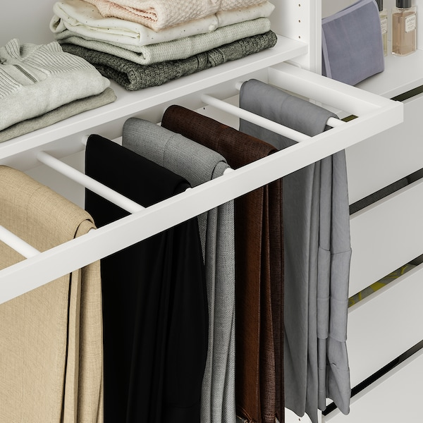 KOMPLEMENT Pull-out trouser hanger, white, 100x35 cm