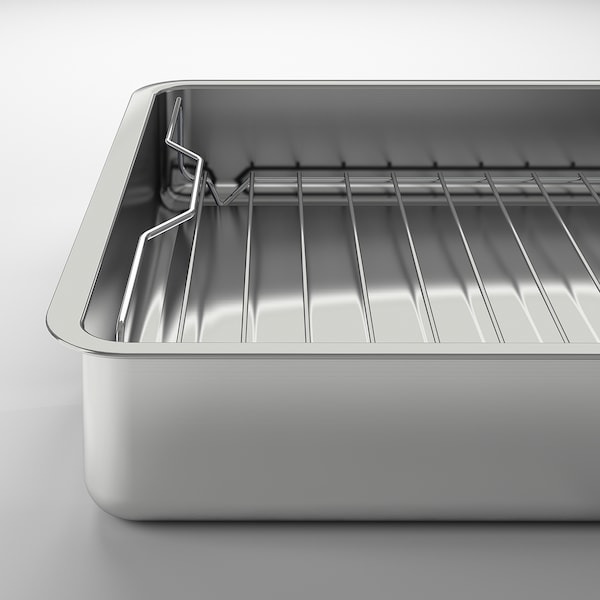 KONCIS Roasting tin with grill rack, stainless steel, 40x32 cm