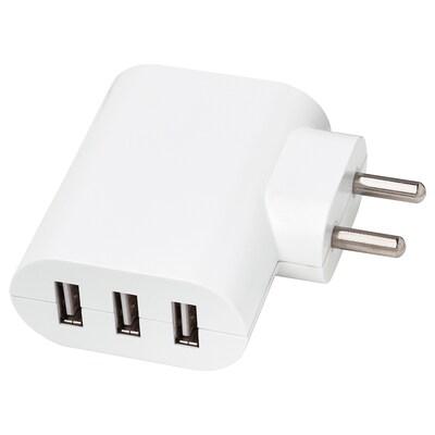 KOPPLA 3-port USB charger white 7 cm 3 cm