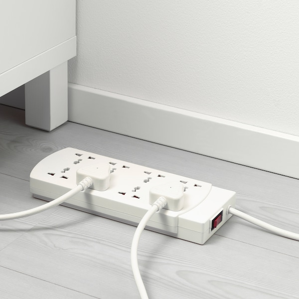 KOPPLA 8-way socket with switch earthed white 1.5 m 2 pack