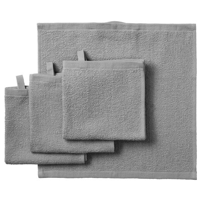 KORNAN washcloth grey 320 g/m² 30 cm 30 cm 0.09 m² 4 pack