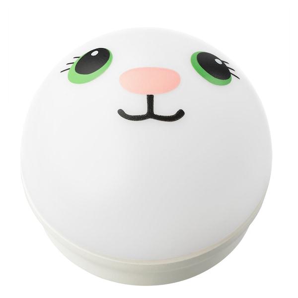 KORNSNÖ LED night light, white/rabbit battery-operated