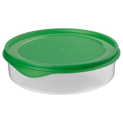 KRISTYR Food container, green round/plastic, 1.0 l