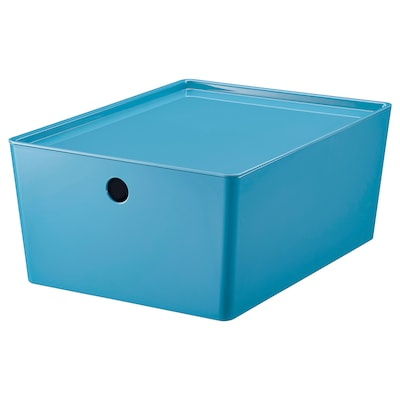 KUGGIS Storage box with lid, blue/plastic, 26x35x15 cm