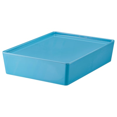 KUGGIS Storage box with lid, blue/plastic, 26x35x8 cm