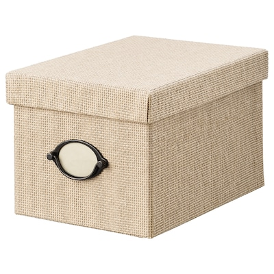 KVARNVIK Storage box with lid, beige, 18x25x15 cm