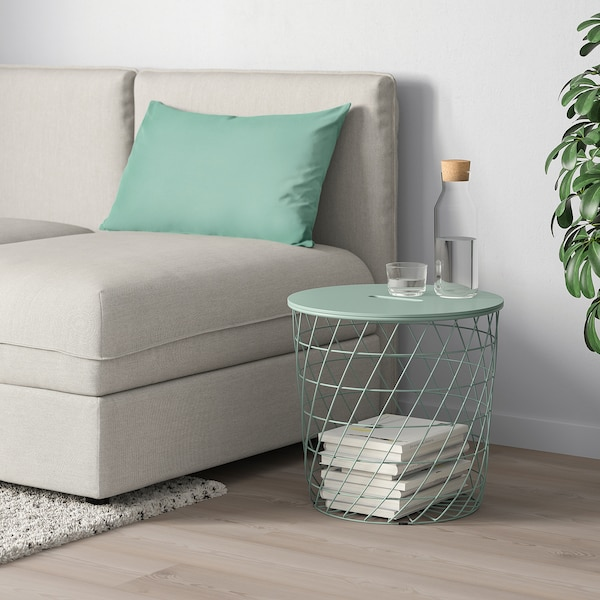 KVISTBRO Storage table, light grey-green, 44 cm