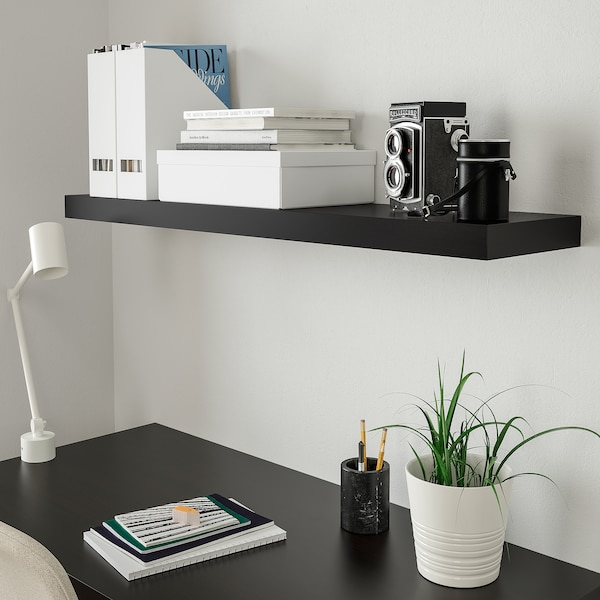 LACK Wall shelf, black-brown, 110x26 cm