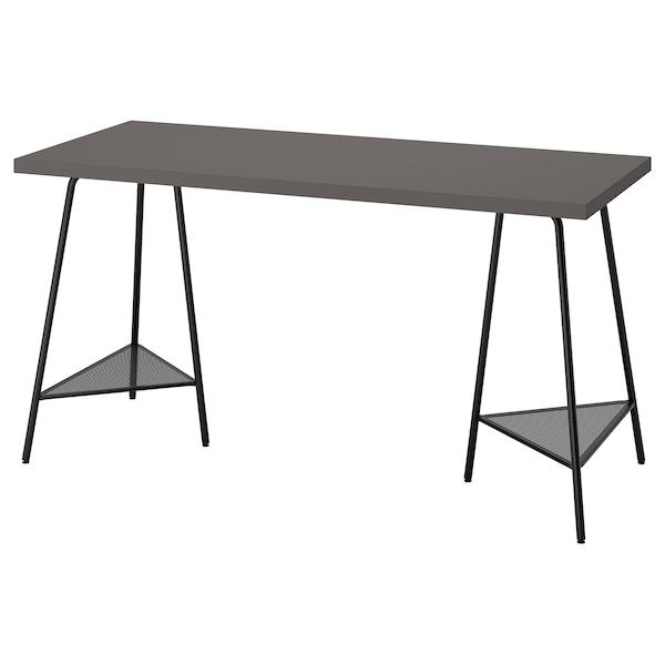 LAGKAPTEN / TILLSLAG Desk, dark grey/black, 140x60 cm