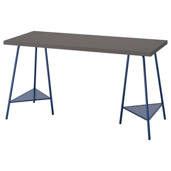 LAGKAPTEN / TILLSLAG Desk, dark grey/dark blue, 140x60 cm