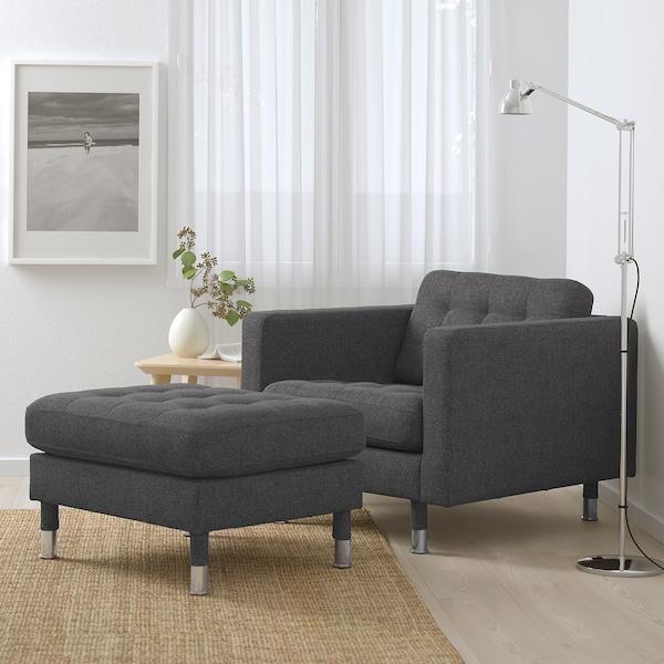 LANDSKRONA Footstool, Gunnared dark grey/metal