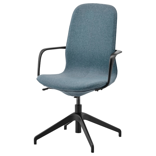 LÅNGFJÄLL Conference chair with armrests, Gunnared blue/black