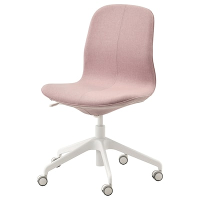 LÅNGFJÄLL Office chair, Gunnared light brown-pink/white
