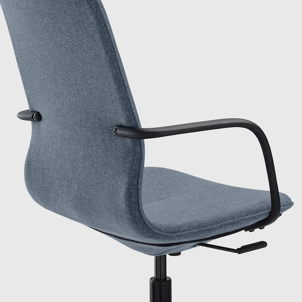 LÅNGFJÄLL Office chair with armrests, Gunnared blue/black