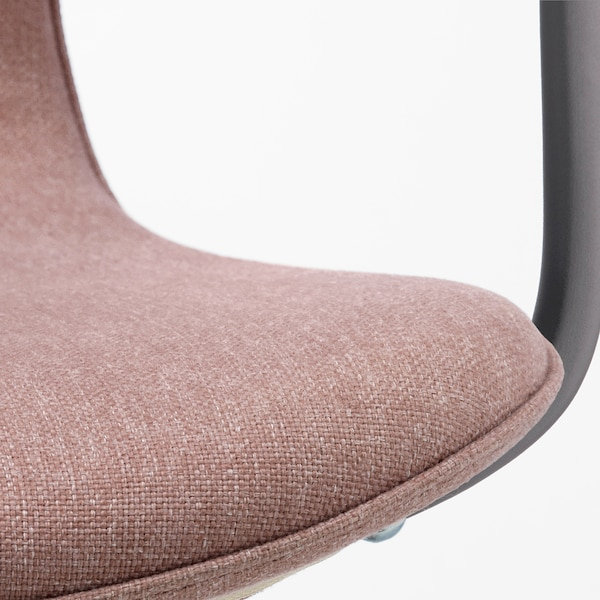 LÅNGFJÄLL Office chair with armrests, Gunnared light brown-pink/black