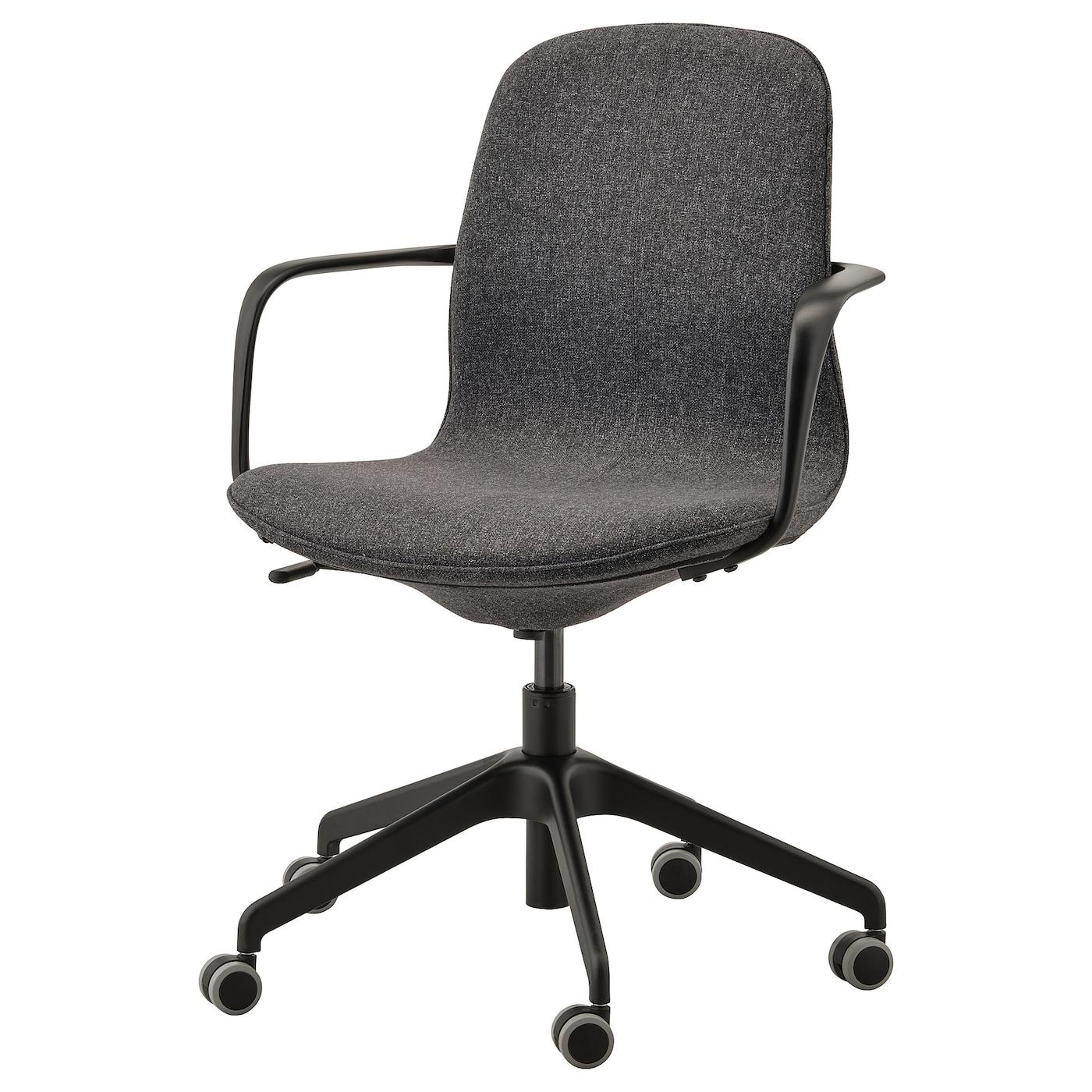 LÅNGFJÄLL Office chair with armrests - Gunnared dark grey, black - IKEA