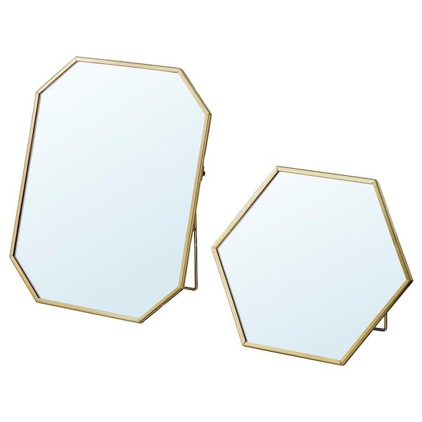 LASSBYN Mirror, set of 2, gold-colour