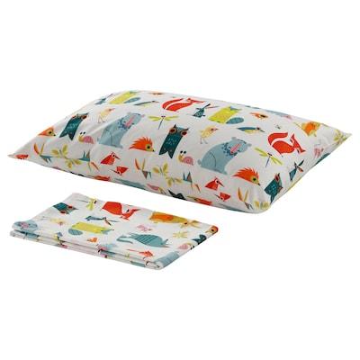 LATTJO Flat sheet and pillowcase, animal/multicolour, 150x250/50x80 cm