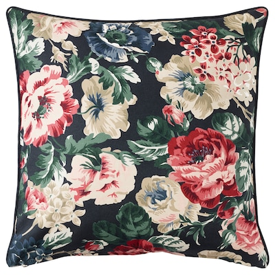 LEIKNY Cushion cover, black/multicolour, 50x50 cm