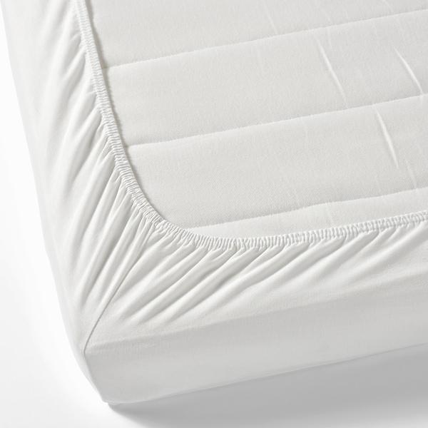 LEN Fitted sheet, white, 80x130 cm