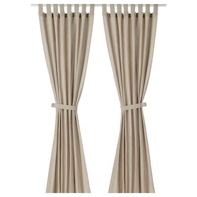LENDA Curtains with tie-backs, 1 pair, light beige, 140x300 cm