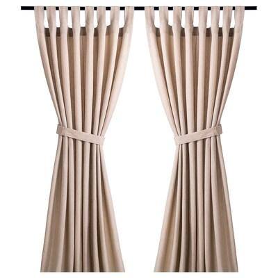 LENDA Curtains with tie-backs, 1 pair, light beige, 140x150 cm
