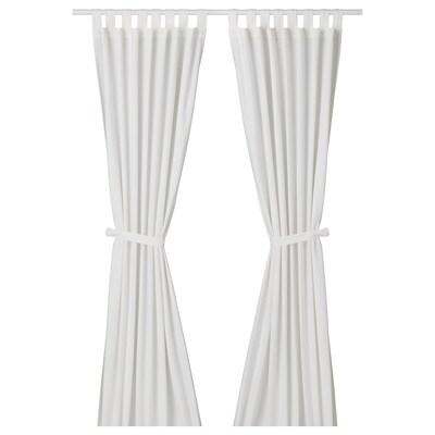 LENDA Curtains with tie-backs, 1 pair, white, 140x300 cm