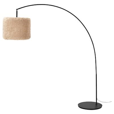 LERGRYN / SKAFTET Floor lamp base, arched, beige/black