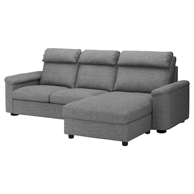LIDHULT 3-seat sofa-bed, with chaise longue/Lejde grey/black