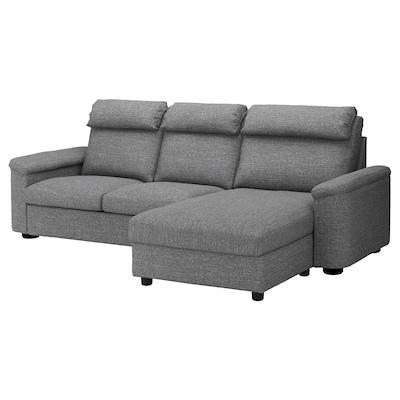 LIDHULT 3-seat sofa, with chaise longue/Lejde grey/black