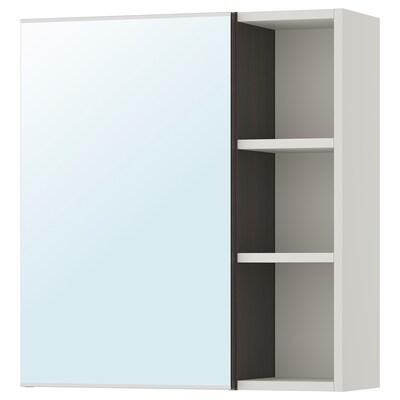 LILLÅNGEN Mirror cabinet 1 door/1 end unit, black-brown/grey, 59x21x64 cm