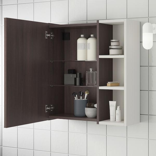 LILLÅNGEN mirror cabinet 1 door/1 end unit black-brown/grey 59 cm 21 cm 64 cm