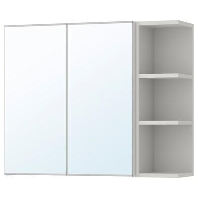 LILLÅNGEN Mirror cabinet 2 doors/1 end unit, black-brown/grey, 79x21x64 cm