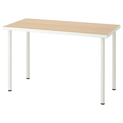 LINNMON / ADILS table white white stained oak effect/white 150 cm 75 cm 74 cm 50 kg