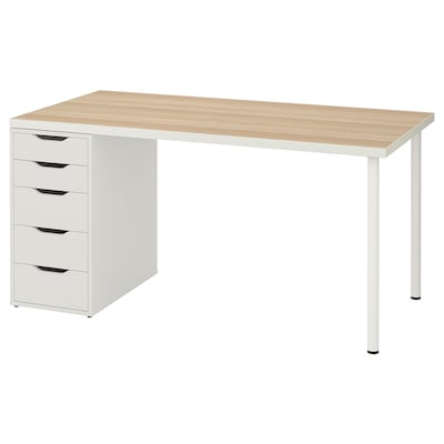 LINNMON / ALEX table white white stained oak effect/white 150 cm 75 cm 74 cm