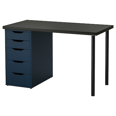 LINNMON / ALEX table black-brown/blue 120 cm 60 cm 74 cm