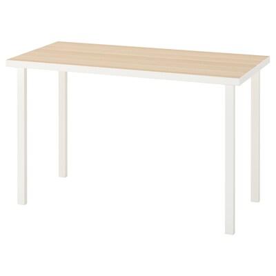 LINNMON / GODVIN Table, white white stained oak effect/white, 120x60 cm