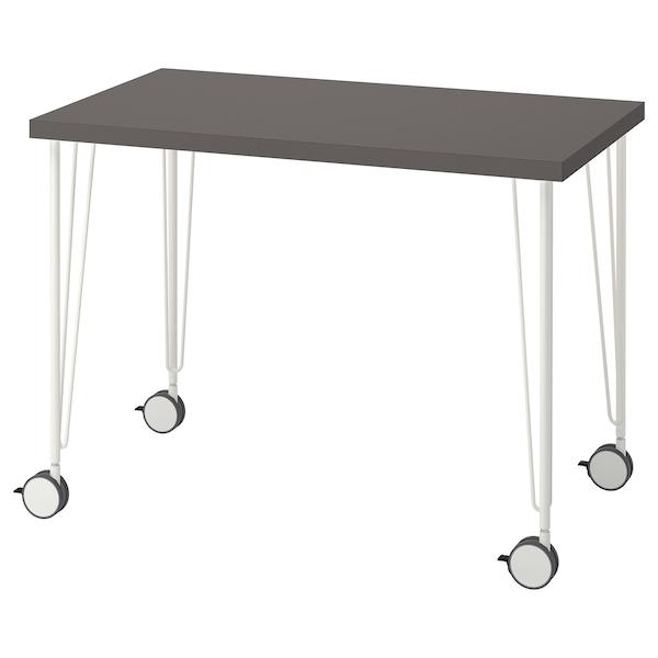 LINNMON / KRILLE Desk, dark grey/white, 100x60 cm
