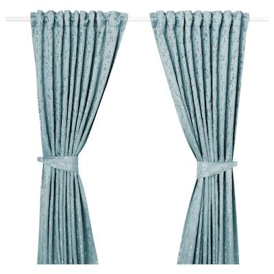 LISABRITT Curtains with tie-backs, 1 pair, blue, 145x300 cm
