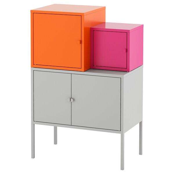 LIXHULT storage combination grey orange/pink 70 cm 92 cm 60 cm 35 cm 21 cm