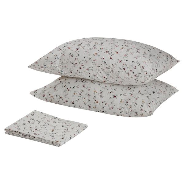 LJUSÖGA Flat sheet and 2 pillowcase, flower, 240x260/50x80 cm