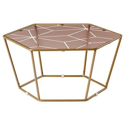 LJUV Coffee table, hexagonal/gold-colour pink, 60x52 cm