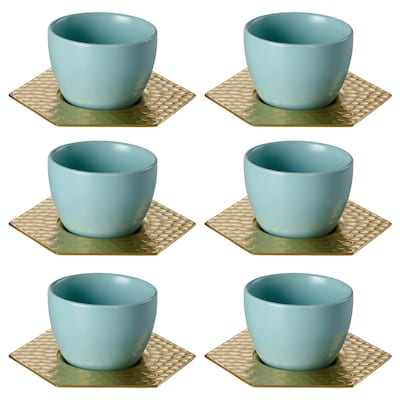 LJUV Cup with saucer, light turquoise/gold-colour