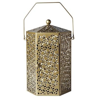LJUVARE Lantern for block candle, gold-colour, 32 cm