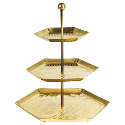 LJUVARE Serving stand, three tiers, gold-colour