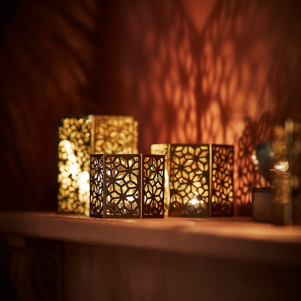 LJUVARE Tealight holder, gold-colour, 8 cm